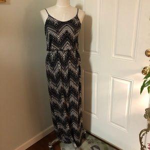 Zigzag maxi boho ruffle drop waist dress